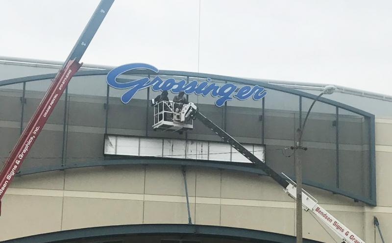 The new sign is installed outside Grossinger Motors Arena in downtown Bloomington on Friday, Oct. 27, 2017.