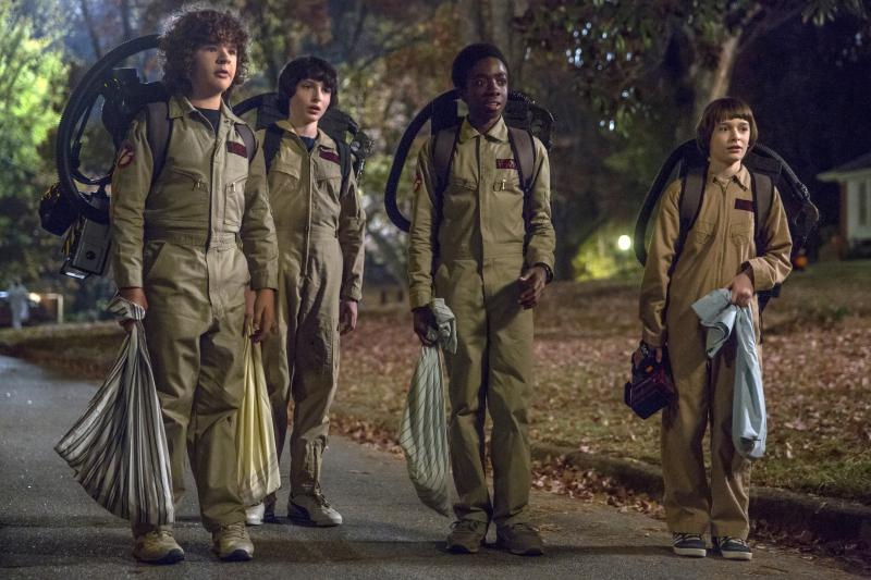"Gaten Matarazzo, from left, Finn Wolfhard, Caleb McLaughlin and Noah Schnapp in a scene from ""Stranger Things,"" premiering its second season on Friday."
