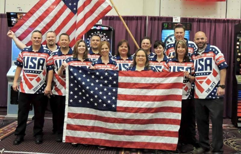 World-class darts player Julie Weger, front, with her Team USA teammates in Hong Kong this past summer.