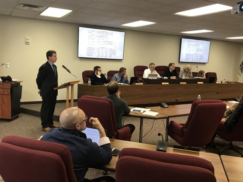 Economic Development Council CEO Kyle Ham fields questions from Mclean County Board members ahead of the vote on the Brandt deal.