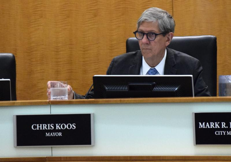 File photo, Town of Normal Mayor Chris Koos during a Town Council meeting.