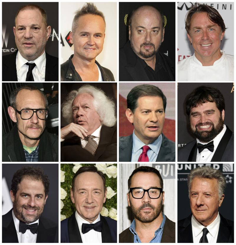 Top row from left, film producer Harvey Weinstein, former Amazon Studios executive Roy Price, director James Toback, New Orleans chef John Besh, middle row from left, fashion photographer Terry Richardson, New Republic contri