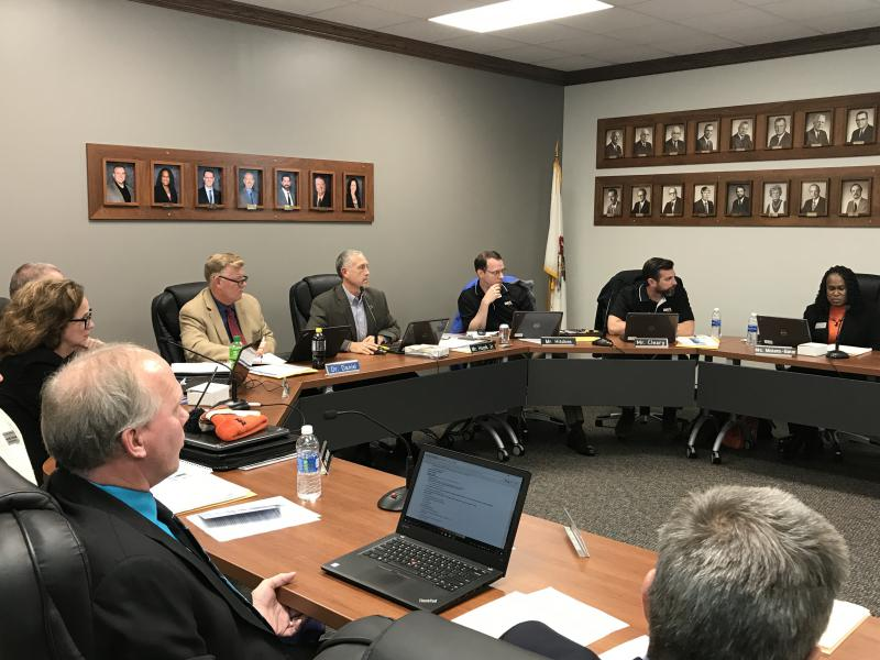The Unit 5 school board during its meeting Wednesday, Nov. 8, 2017.