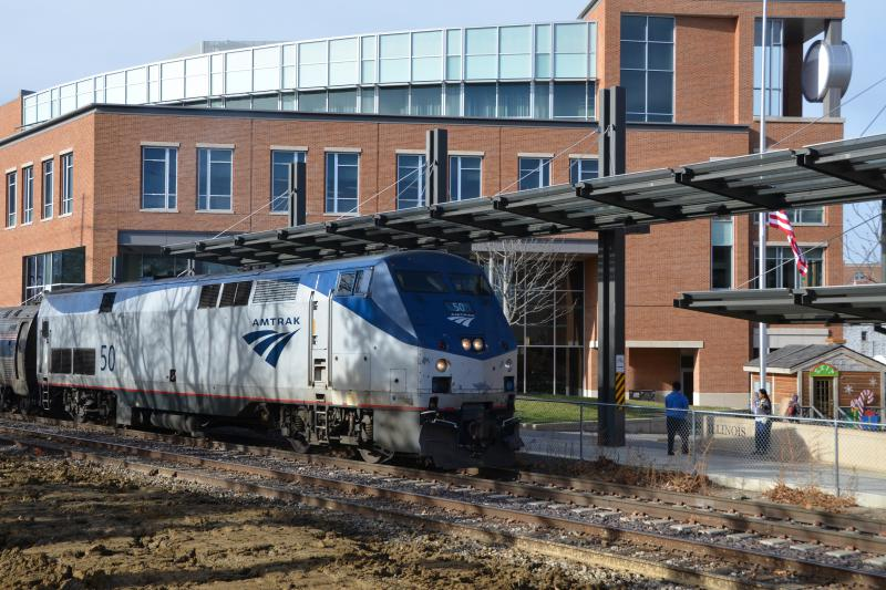 An Amtrak train is seen at Uptown Station in Normal.