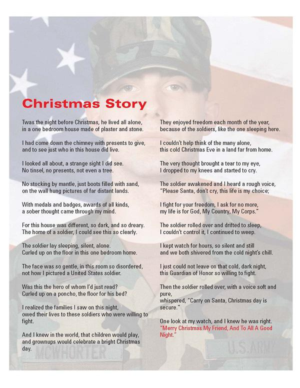 Photo of a soldier Nick McWhorter who was adopted by State Farm's Military Affinity Group and a poem is overlaid