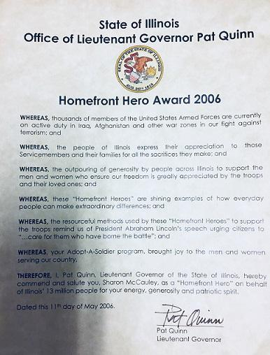 A declaration from former Lt. Gov Pat Quinn honoring Sharon McCauley for her Adopt-A-Family efforts