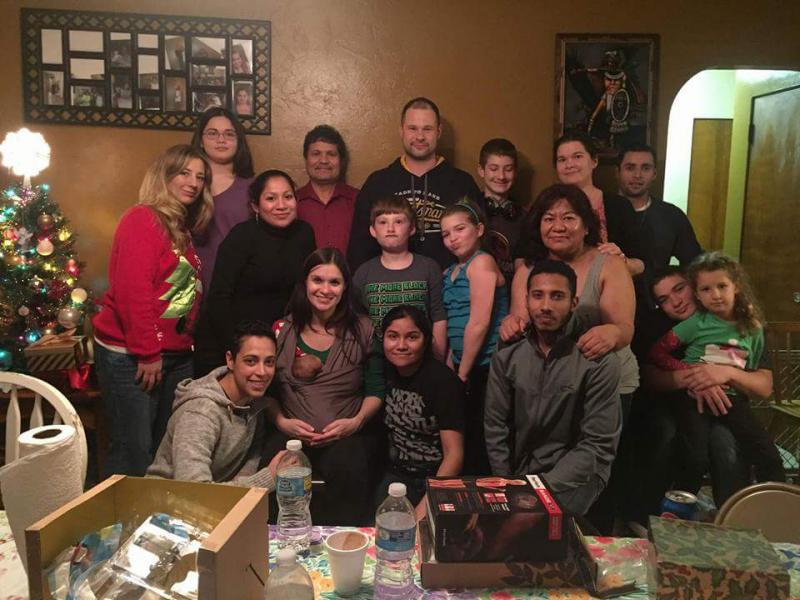 A Sandoval family gathering. Franklin Sandoval is in front row, right.