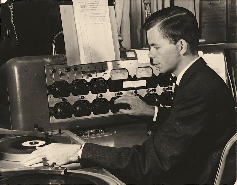Don early in his career at WKID AM, Urbana, in 1962.