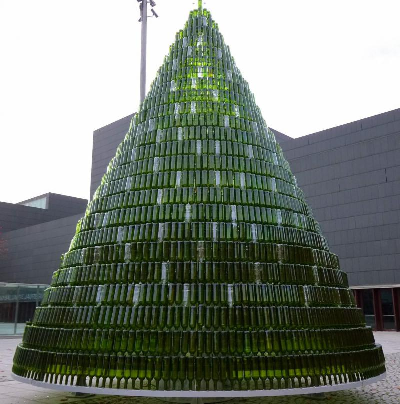 Almost anything can become a Christmas tree, including bottles.
