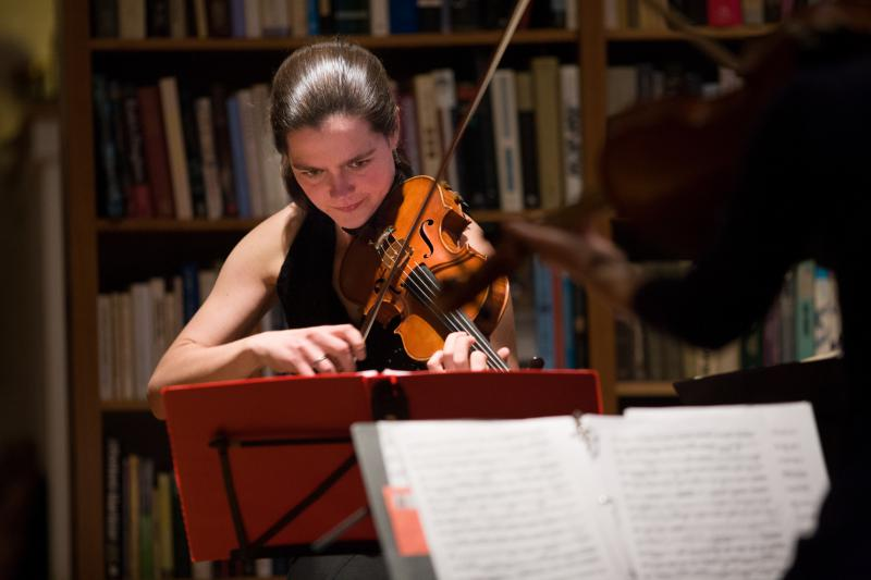 Emmy Holmes-Hicks performing classical chamber music in Providence, Rhode Island.