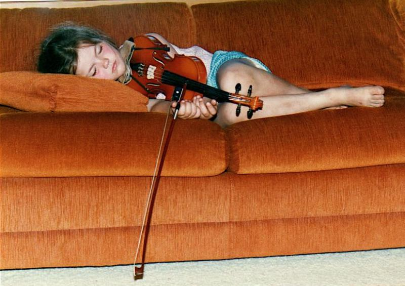 Emmy at 5 with her violin, asleep after practicing.