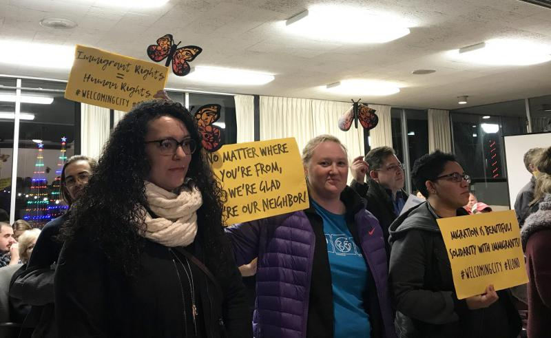 Local activists push for a Welcoming City ordinance at the Bloomington City Council meeting on Monday, Nov. 27, 2017.