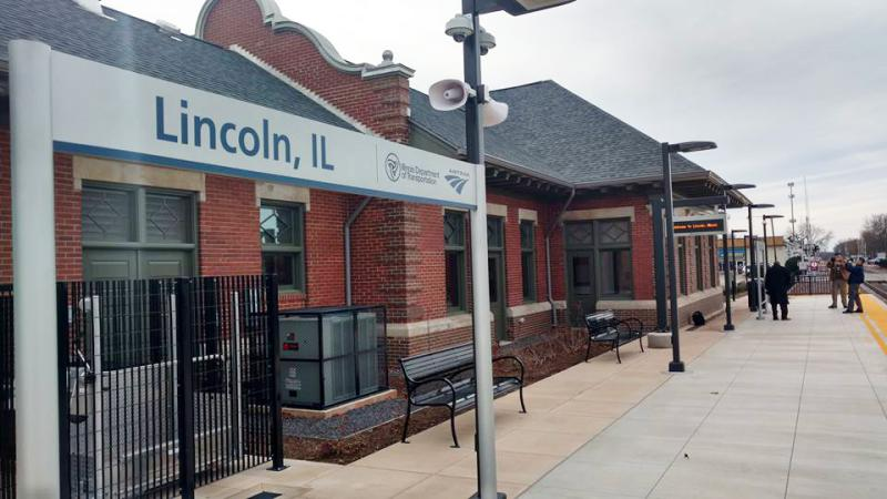The renovated Amtrak station in Lincoln.