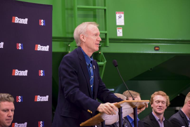 Gov. Bruce Rauner during a stop in McLean County on Friday, Dec. 1, 2017.