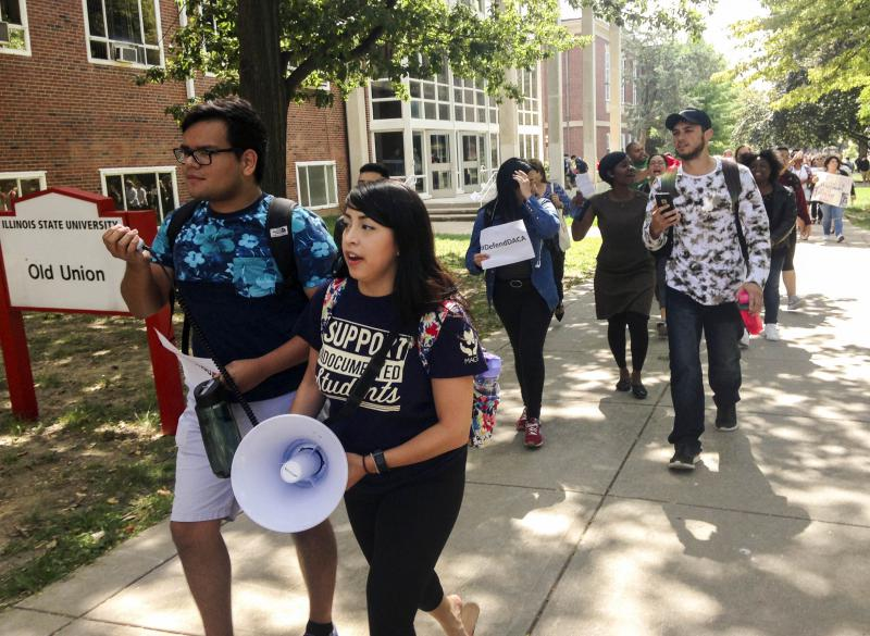 Illinois State University students rally on the Quad on Tuesday, Sept. 5, 2017, in support of young immigrants caught up in the DACA debate.
