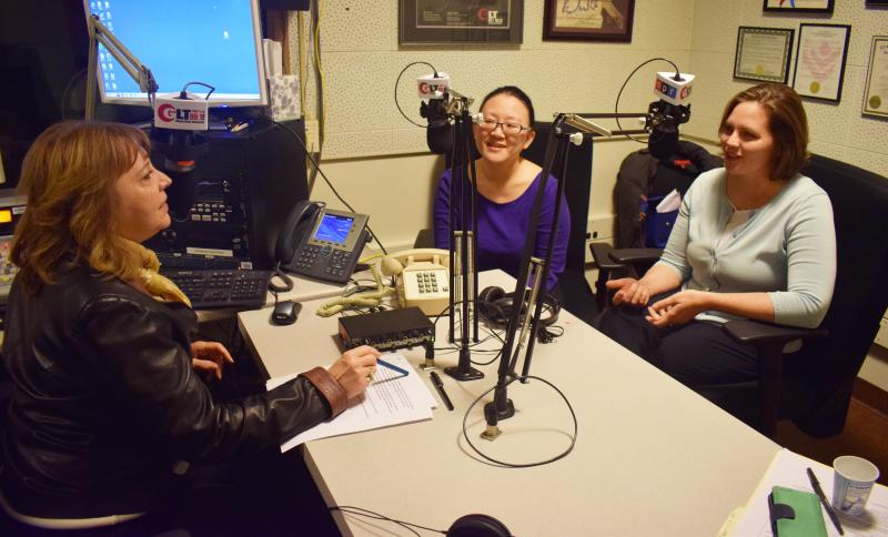 Sharon Chung, District 7 County Board Democratic candidate, center, and Elizabeth Johnston, Democratic candidate for District 5, talk in studio with GLT's Judy Valente.