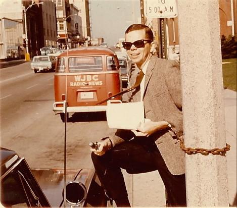 "Don hosting his WJBC morning show from East Washington Street in the late 1960s. He was arrested on air for ""broadcasting from a sidewalk without a permit"" and chained me to a light post ""until I could procure an attorney."""