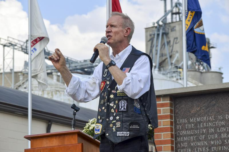 Gov. Bruce Rauner during his Route 66 motorcycle stop in Lexington on Saturday, Sept. 24, 2017.