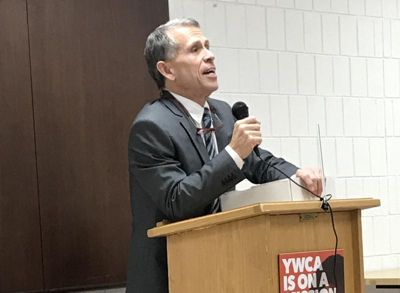 Bloomington Mayor Tari Renner during a town hall meeting Tuesday, Dec. 5, 2017, at YWCA McLean County.