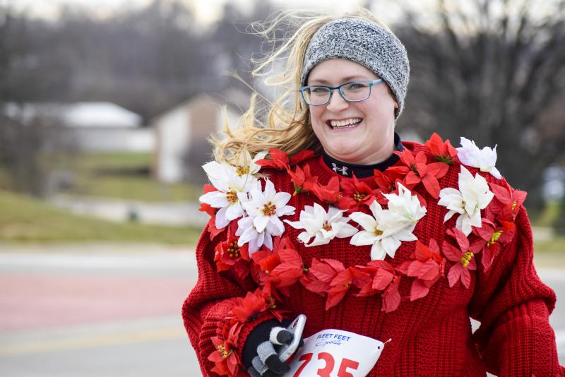 Need an ugly sweater? This runner has poinsettias on hers!