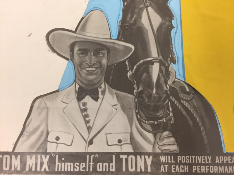 An artist's rendering of a Tom Mix Circus poster.