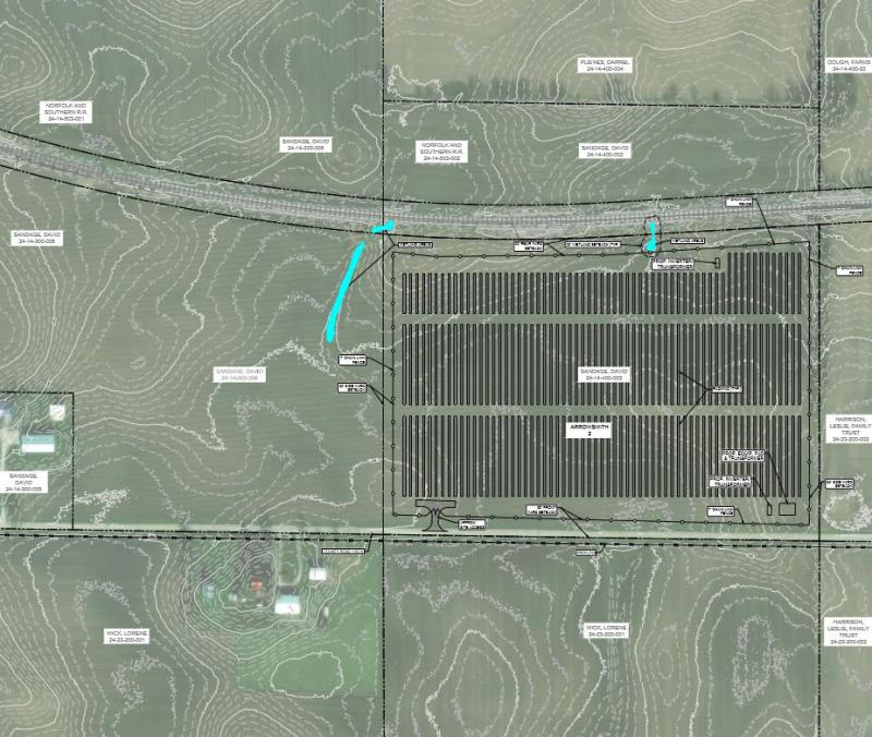 the Arrowsmith II LLC solar array would be south of railroad tracks, east of Arrowsmith and north of E 1000 North Road.