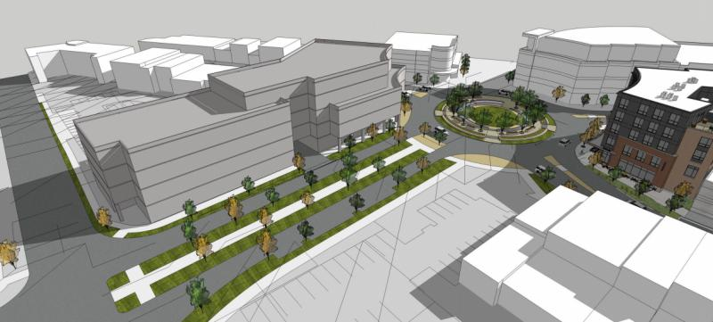 "An example (""Concept Design 2 Courtyard Scheme"") of a possible development on the Trail East location in Uptown Normal."
