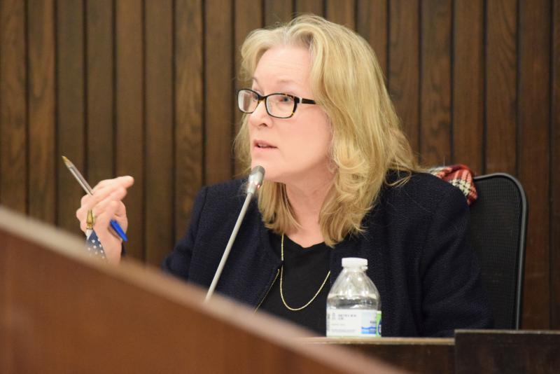 Alderman Kim Bray speaks during the Bloomington City Council meeting Monday, Jan. 8, 2018.