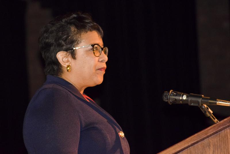 Former U.S. Attorney Loretta Lynch speaks at the Martin Luther King Jr. Cultural Dinner on Friday, Jan. 26, 2018, at Illinois State University.