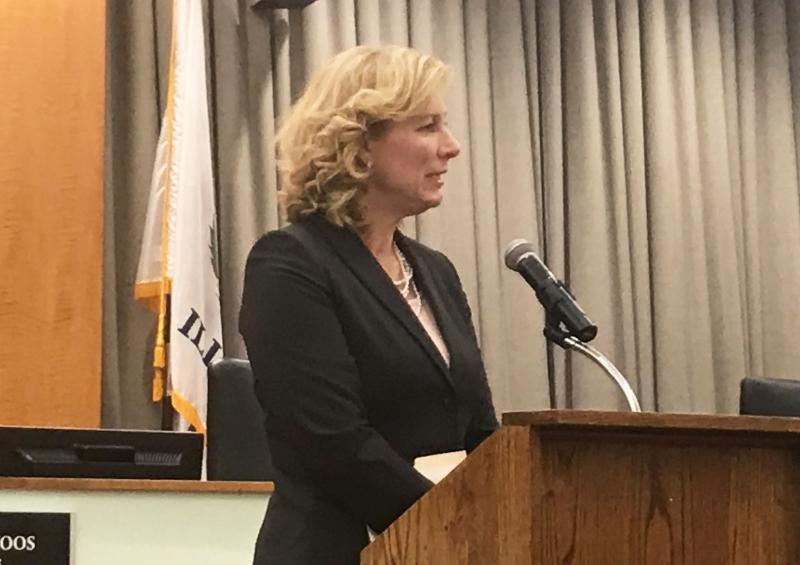 Pamela Reece at a news conference Tuesday, Jan. 23, 2018, where she was named the city manager of Normal.