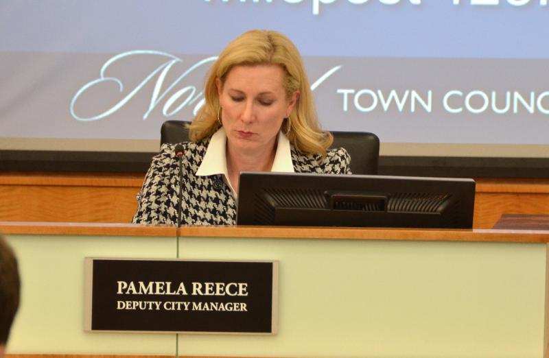 Deputy City Manager Pamela Reece at a recent Normal Town Council meeting.