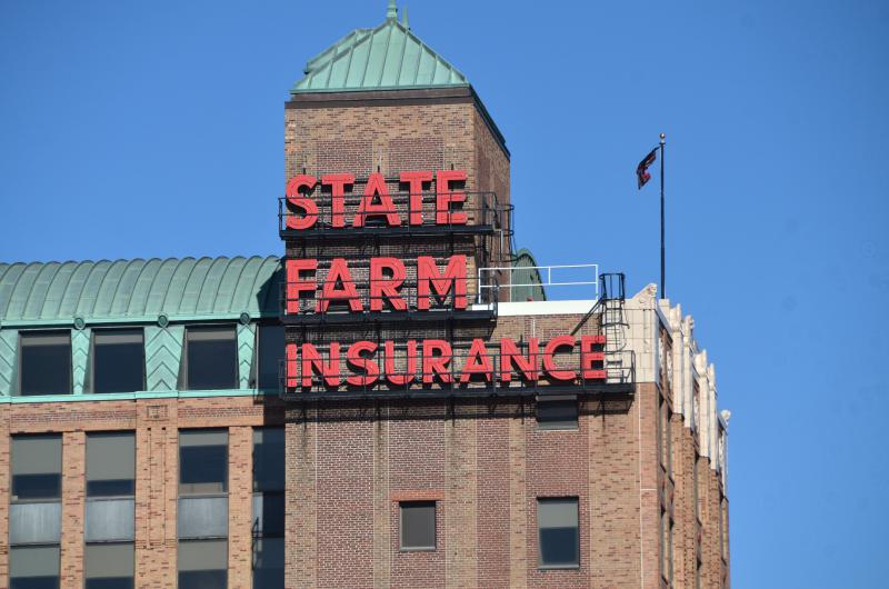 The iconic State Farm Insurance building in downtown Bloomington.