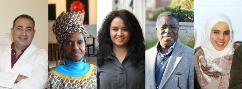 Welcome Dayton posts success stories of its immigrant residents on its website. From left, Dr. Ayman Salem, Nozipo Glenn, Damira Hayrullina, Jacques Kahindo and Widad Boussaha.