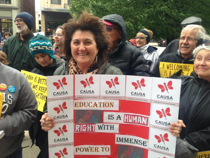 Maura Toro-Morn takes part in the Keep Families Together march on city hall in May 2017.