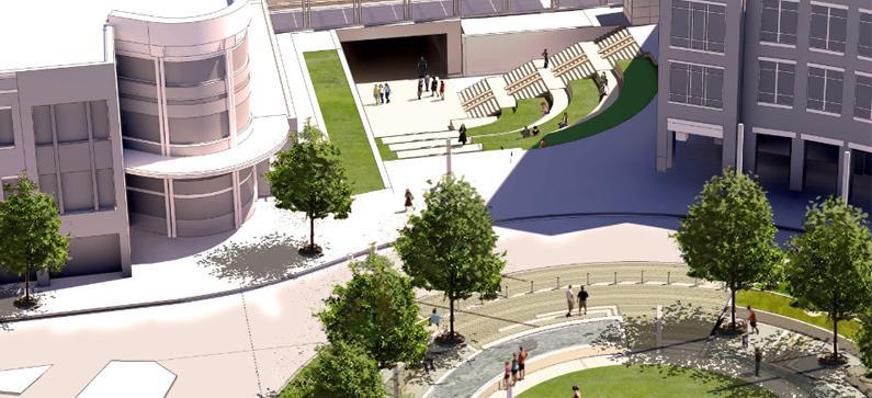 An artist rendering looking south at proposed underpass between the Children's Discovery Museum and Uptown Station in Uptown Normal