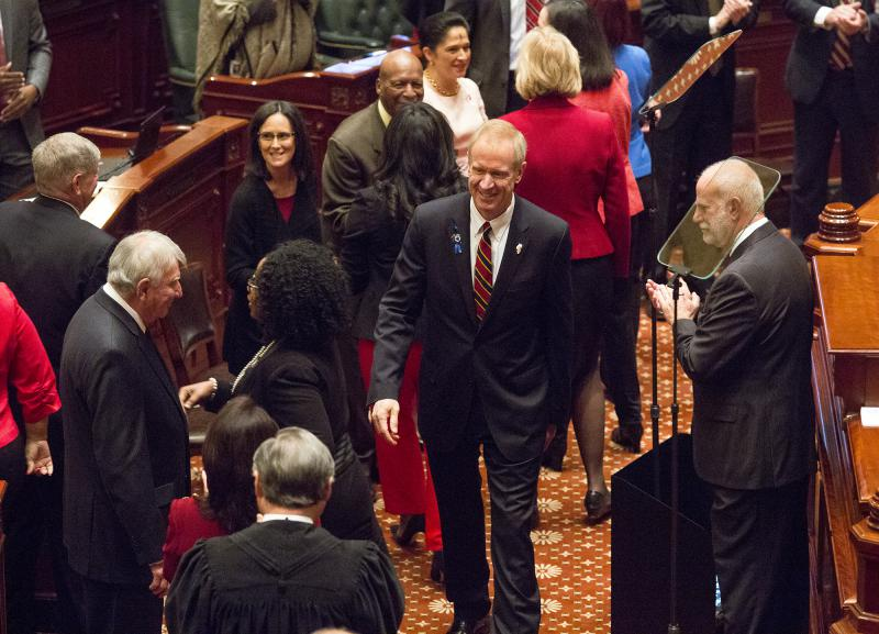 Gov. Bruce Rauner delivered his State of the State address on Wednesday, Feb. 14, 2018, in Springfield.
