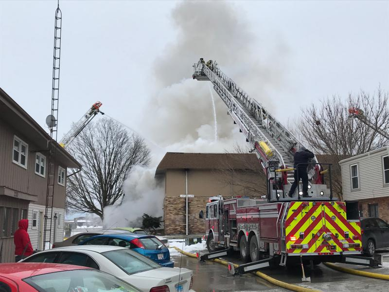 Crews at the scene of the Gettysburg Drive fire on Bloomington's east side.