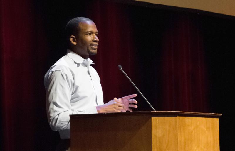YWCA McLean County's D. Dontae Latson at a community solidarity rally sponsored by Not In Our Town in 2017.
