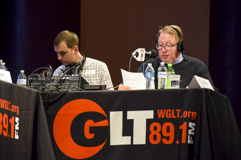 GLT's Charlie Schlenker, right, with GLT's Travis Meadors during the Candidate Forum on Tuesday, Feb. 6, 2018.