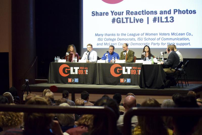 The five Democrats at GLT's Candidate Forum on Tuesday, Feb. 6, 2018, at the Normal Theater.