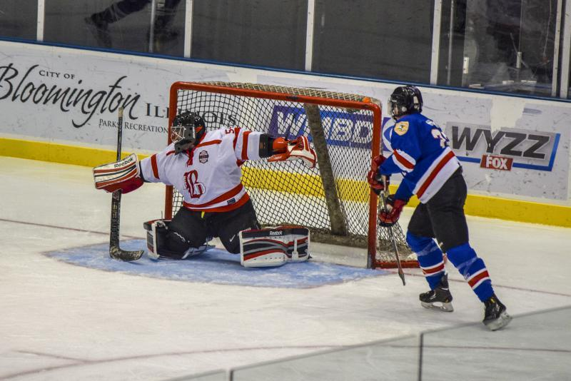 The Fire Department goalie makes a save at Grossinger Motors Arena on Saturday, Feb. 10, 2018.