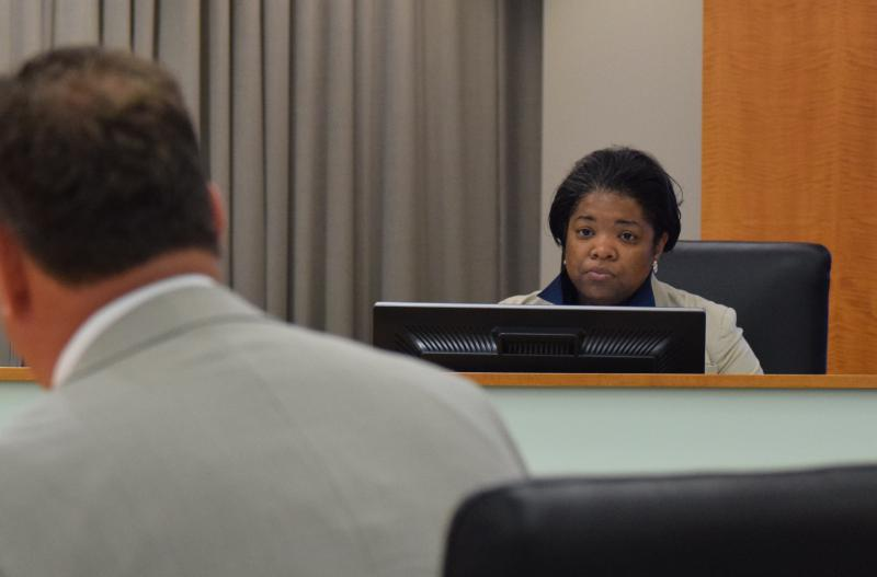 Normal Town Council member Chemberly Cummings during a recent meeting.
