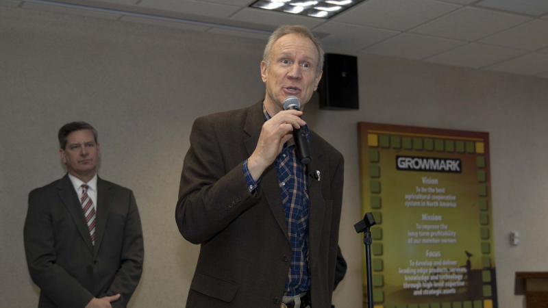 Republican Gov. Bruce Rauner speaks at Growmark in Bloomington on Thursday, Feb. 22, 2018.