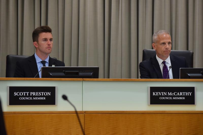Normal Councilman Scott Preston, left, voted against the 20-year solid waste plan Monday.
