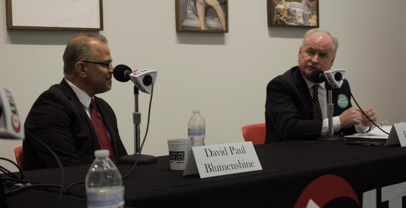 Republican state Rep. Dan Brady, right, and his GOP primary challenger David Paul Blumenshine at the debate Monday, March 5, 2018, in Uptown Normal.