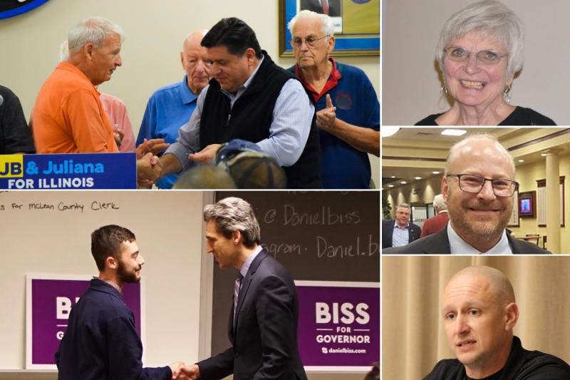 Clockwise from left, Democratic Party chair John Penn with JB Pritzker; chair candidates Dorothy Deany, Patrick Cortesi, and Erik Rankin; and ISU College Democrats President Billy Stripeik with state Sen. Daniel Biss.