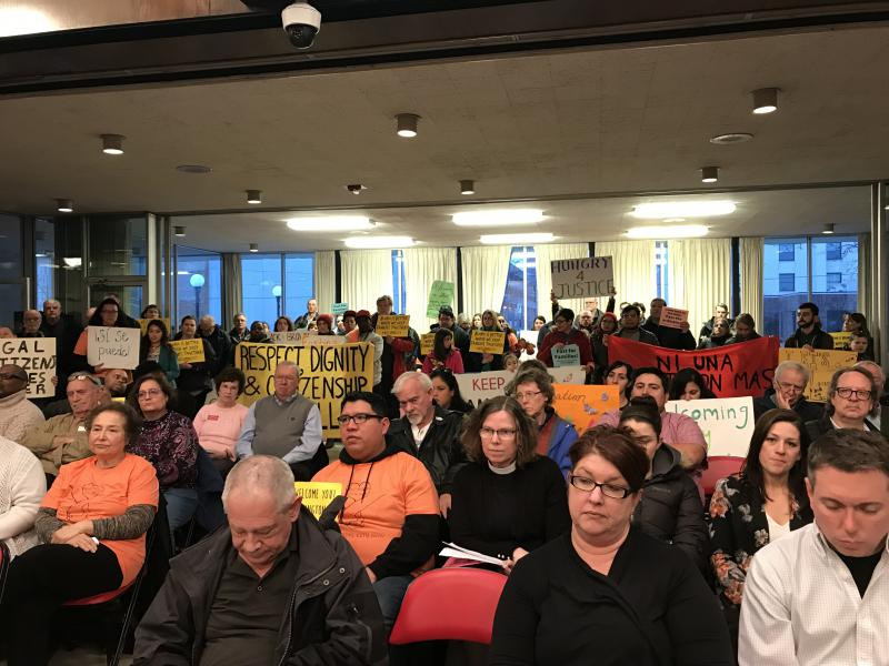Packed Bloomigton City Council chambers with those in support of the long-debated Welcoming City ordinance. Public commenters spoke for and against the measure to regulate communication between the Bloomington Police and ICE.