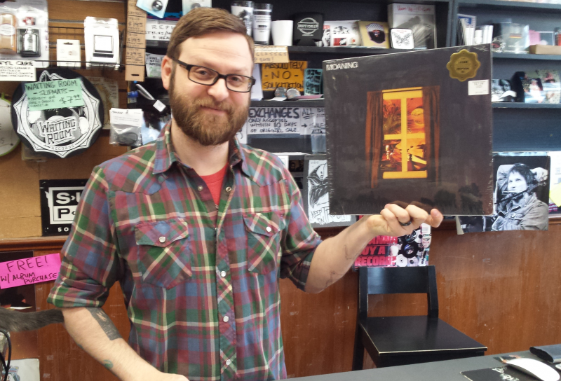 "Jared Alcorn with the new ""Moaning"" album at Waiting Room Records"