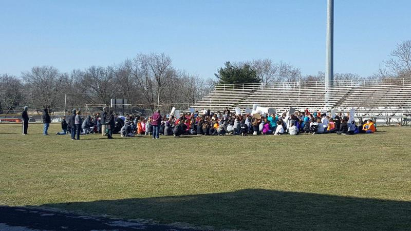 Students at the Kingsley Junior High School walkout on Wednesday, March 14, 2018.