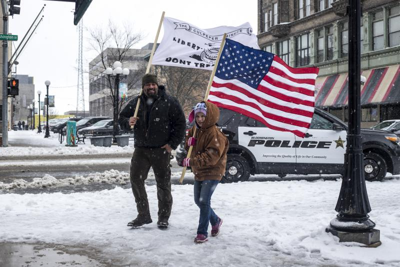 Counterprotestors at the March For Our Lives rally Saturday, March 24, 2018, in downtown Bloomington.